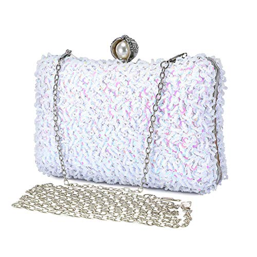 Bolso de Mujer Pequeña Bolso de Noche Hombro Billetera Embrague con Cadena Hechos a Mano Bolso de Hard Shell Diamantes del Banquete Fiesta Boda -Blanco