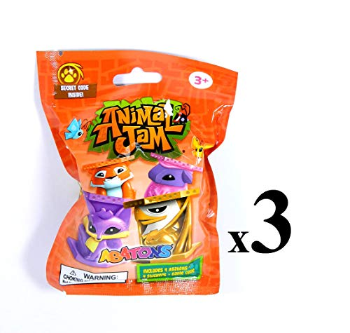 Animal Jam (3) Abatons 4 Pack Blind Bags 4 Abatons, 4 Stickers, Game Code Each Animale Animale Gift Set