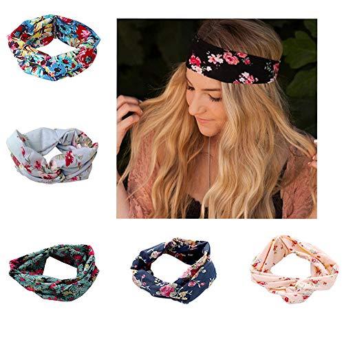 SEVENSTONE 5 Pack Headbands for Women Elastic Boho