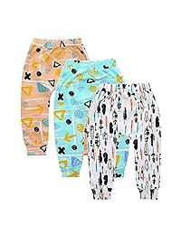 Summer 3-Pack Baby Boys Girls Cartoon Fox Crossed Elastic Waist PP Ankle Pants