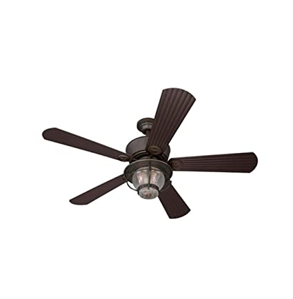 Merrimack 52 In Antique Bronze Downrod Mount Indoor/Outdoor Ceiling Fan  With Light Kit