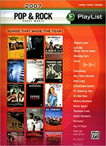 Buy Pop Rock Sheet Music Playlist 2007 Pianovocalchords The