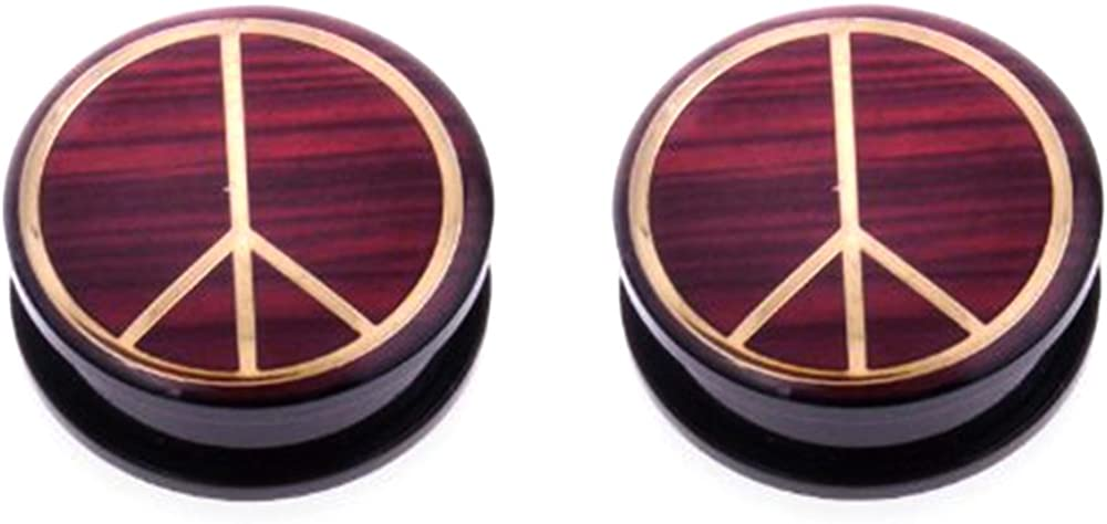 JewelryVolt Acrylic Screw on Plug with Gold Tone Color Peace Sign and Wood-Like Background AP-505