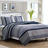 Nautica Adleson Cotton Pieced Quilt, Full/Queen, Blue/Grey