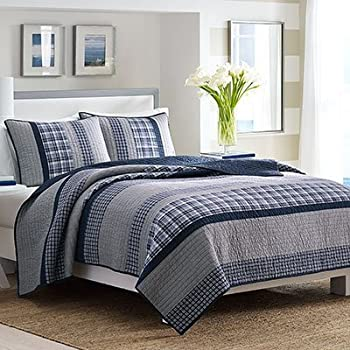Nautica Adleson Cotton Pieced Quilt, Full/Queen, Blue/Grey