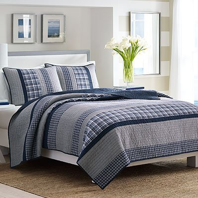 Nautica Adleson Cotton Pieced Quilt, Full/Queen, Blue/Grey by Nautica