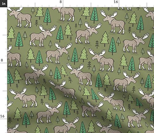 - Spoonflower Moose Fabric - Woodland Forest Fall Autumn Trees Christmas Print on Fabric by The Yard - Organic Cotton Knit for Baby Blankets Clothing Apparel T-Shirts