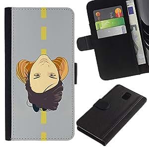 LASTONE PHONE CASE / Lujo Billetera de Cuero Caso del tirón Titular de la tarjeta Flip Carcasa Funda para Samsung Galaxy Note 3 III N9000 N9002 N9005 / Face On Road