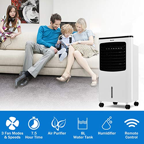COSTWAY Evaporative Air Cooler, Portable Air Cooler with Fan & Humidifier Bladeless Quiet Electric Fan w/Remote Control for Indoor Home Office Dorms (29'' H) by COSTWAY (Image #2)