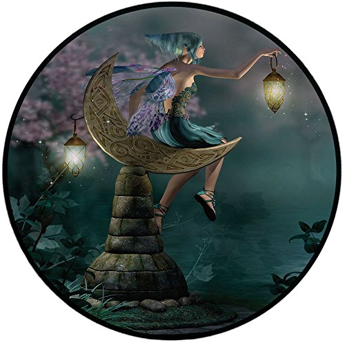 Printing Round Rug,Fantasy,Little Pixie with Lantern Sitting on Moon Stone Fairytale Myth Kitsch Artwork Mat Non-Slip Soft Entrance Mat Door Floor Rug Area Rug For Chair Living Room,Gold Teal Lilac