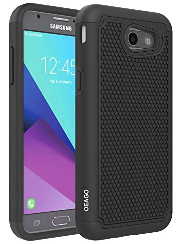 For Samsung Galaxy J3 Emerge / J3 Prime / J3 2017 / Sol 2 / Amp Prime 2 / Express Prime 2 Case, OEAGO [Shockproof] Hybrid Dual Layer Defender Protective Case Cover (Black)