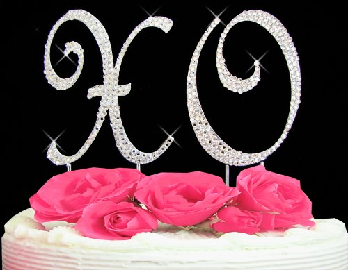 Swarovski Crystal XO Hugs & Kisses Cake Top Set Cake Topper