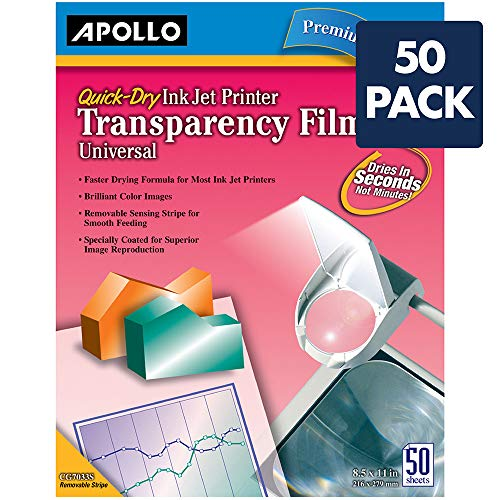 Apollo Transparency Film for Inkjet Printers, Universal, Quick Dry, 50 Sheets/Pack (VCG7033S) by Apollo (Image #1)