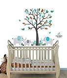 Fabric Tree Wall Decals, Jungle Animal Stickers, Nursery Décor, Silver Mist