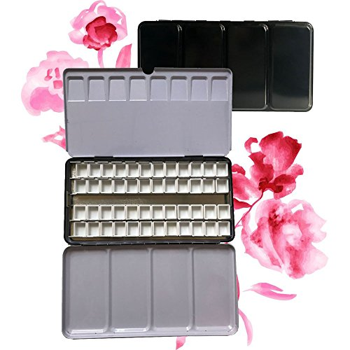 Easy-going Plastic Empty 48 Pcs Half Pans for Watercolor Paint Metal Tin Box Palette by Easy-going