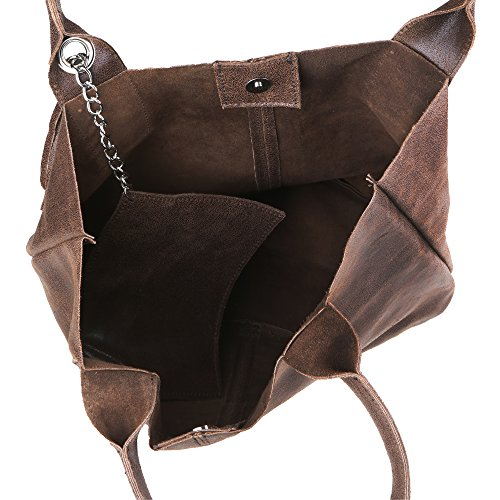 Chicca Borse Da Handbag 39x36x20 Borsa In Mano Made Cm Shopper Italy Pelle Marrone Donna Vera A UUqdrc