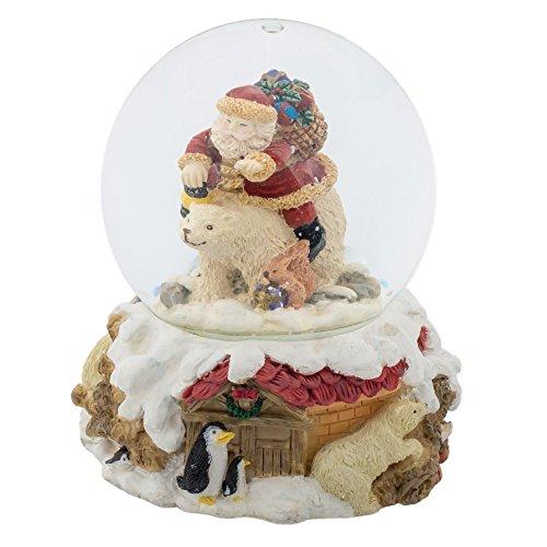 Riding Bear Polar (Santa Claus Riding Polar Bear Christmas 100MM Music Water Globe Plays Tune Here Comes Santa Claus)