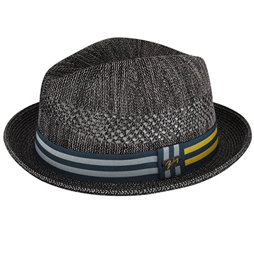 Bailey of Hollywood Men's Berle Fedora Trilby Hat with Striped Band, Charcoal, XL