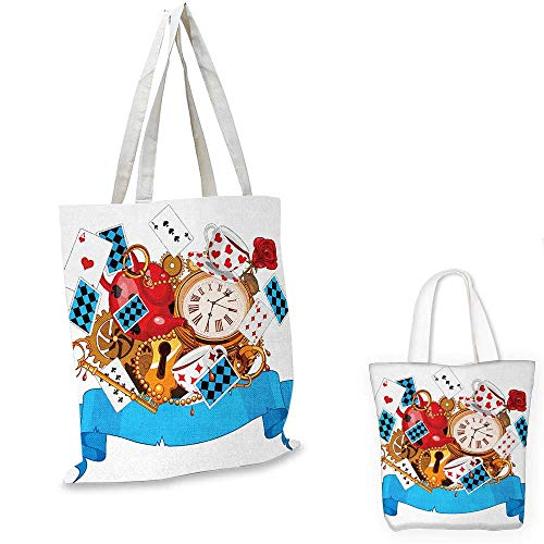 (Alice in Wonderland canvas shoulder bag Mad Design of Cards Clocks Tea Pots Keys Flowers Fantasy World Artwork canvas lunch bag Multicolor. 13