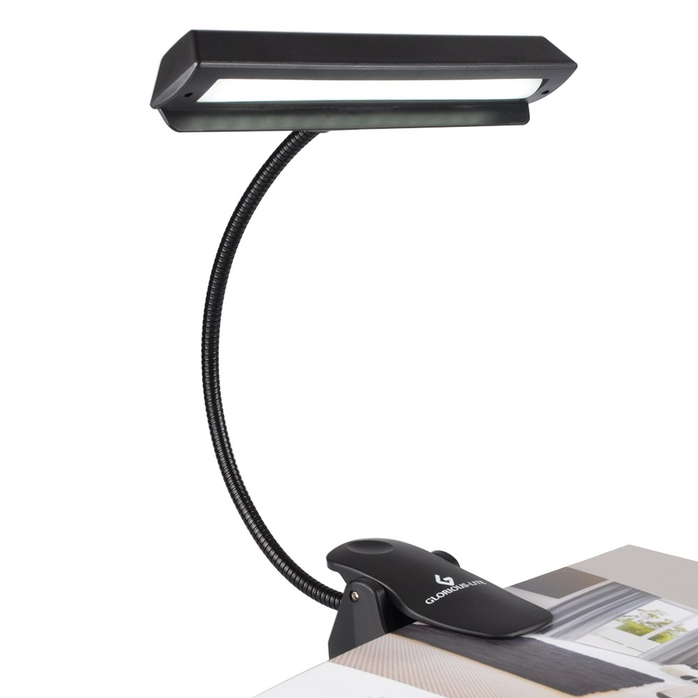 GLORIOUS-LITE 14 LED Music Stand Lights/Clip on Light/Piano Light, 3 Levels Brightness Book Light, Rechargeable Reading Light, Full Charged for 11-Hour Using for Piano, Travel, Desk and Bed Headboard