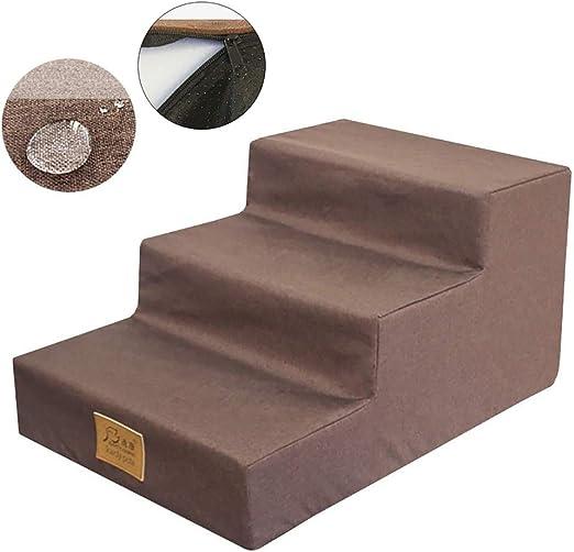 Escalera de Mascota Impermeable Escaleras de cama para perros con cubierta lavable a máquina - Rampa de peldaños para mascotas pequeña para sofá - Alto 11.8 pulgadas, espuma acolchada de alta densidad: