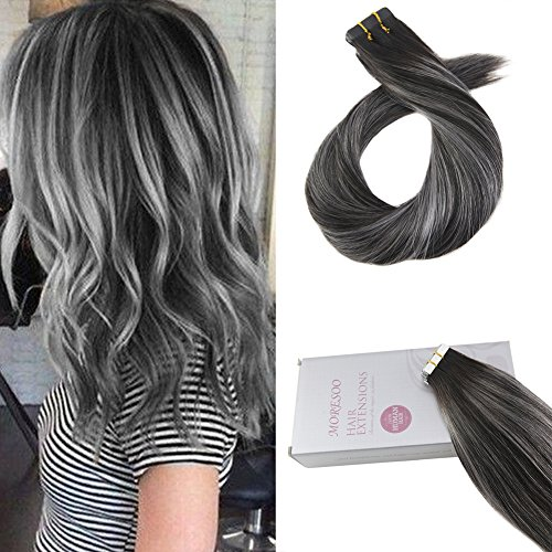 Moresoo 18 Inch Tape on Remy Human Hair Extensions Balayage Color Off Black to Gray Silver and Black Seamless Skin Weft Tape in Human Hair Extensions Glue on Hair 20pcs/50g ()