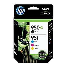 HP 950XL Black/951 Tri-Color (C2P01FN140) Inkjet Cartridge Four Pack