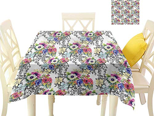 WilliamsDecor Square Tablecloth Colorful,Wildflowers Bouquet Plants Waterproof Table Cloth W 60