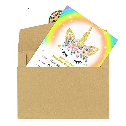 30 unids Kit Completo invitacion a cumpleaños de Tarjeta Unicornio + Sobre + Pegatina Fiesta, cumples, Aniversarios, Bodas, escaparates Manualidades con ...