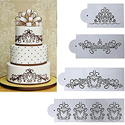 Buy Petsdelite® 4Pcs Flower Cake Stencil Set Cake Decorating