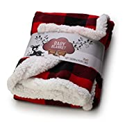 TrailCrest Baby Soft Sherpa Blanket-Plaid Accent-Reversible Plush Infant Essential