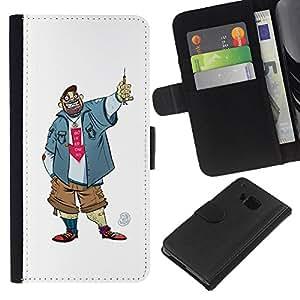 Be-Star la tarjeta de Crédito Slots PU Funda de cuero Monedero caso cubierta de piel Para HTC One M9 ( Dude Guy Man Criminal Smile Caricature )
