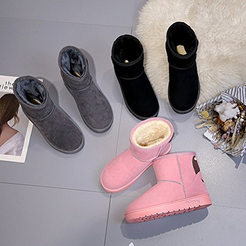 Black Boots Fleece Anti Shoes Lined Snow Winter Auspicious Outdoor Warm Plush Women beginning Skid BxWCpq7nOw