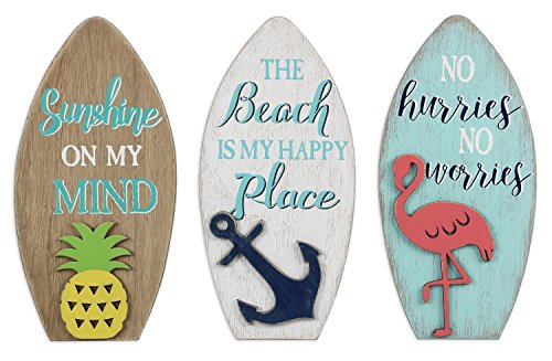 Young's Flamingo Pineapple Anchor Surfboard Shaped Wood Signs Set of 3 Wall Plaques (Wall Shelf Surfboard)
