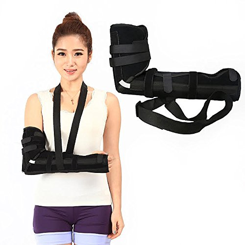 Kids Elbow Sling, Full Arm Brace, Elbow Immobilizer, Ambidextrous, Comfortable & Padded, 7 Straps For Comfort & Fit, Perfect For Sports Injuries & Pain, Medium