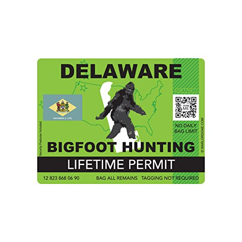 Delaware Bigfoot Hunting Permit Sticker Die Cut Decal Sasquatch Lifetime FA Vinyl