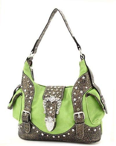 Western Handbags Rhinestone Buckle Purse Bling Bags (Lime), Bags Central
