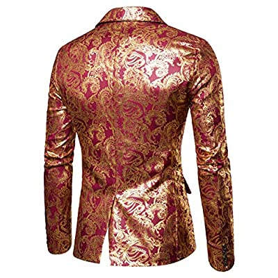 Mens Floral Blazer 1 Button Paisley Party Dinner Wedding Dress Suit Jacket at  Men's Clothing store