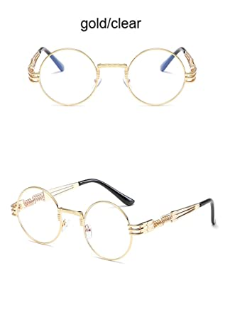 bfeccc93814b Amazon.com   Buildent Gothic Steampunk Sunglasses Women Men Metal Wrap Eyeglasses  Round Shades Vintage Brand Designer male Sun glasses Mirror  Gold Clear  ...