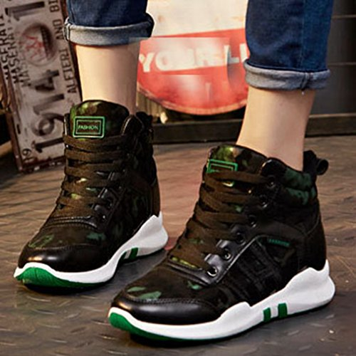 Giy Femmes Mode Haute Haut Sneakers Casual Lace Up Plate-forme Bout Rond Mocassins Sneaker Sport Chaussures Noir-vert