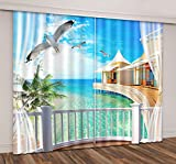 LB Tropical Beach Window Curtains for Living Room Bedroom,Blue Sea Water and Palm Trees Seaside Scenery Teen Kids Room Darkening 3D Blackout Curtains Drapes 2 Panels,28 By 65 inch Length Review