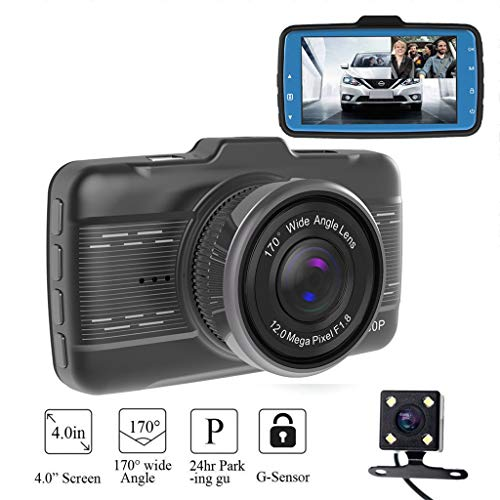 ❤️Jonerytime❤️ 4'' LCD IPS Dual Lens Car Dash Cam FHD 1080P Dashboard Camera 170° Driving DVR (Black)