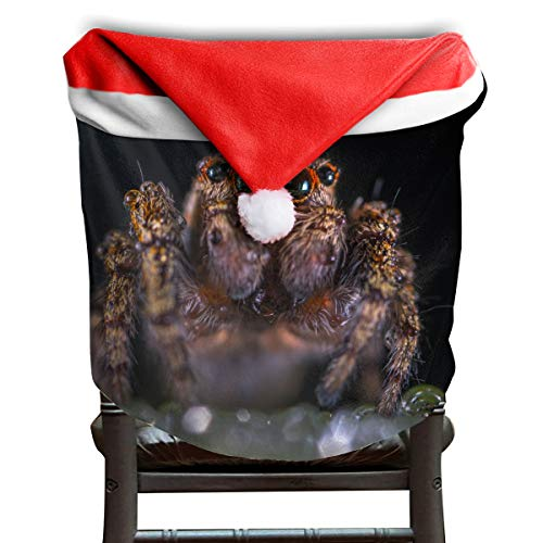 EDYE Halloween Macro Brown Jumping Spider Christmas Xmas Themed Dinning Seat Chair Cap Hat Covers Ornaments for Backers Slipcovers Wraps Coverings Decorations Protector Set -