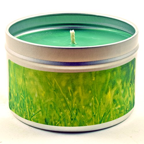 Fresh Cut Grass, Super Scented Soy Candle Tin (6 oz) by Candeo Candle (Image #3)