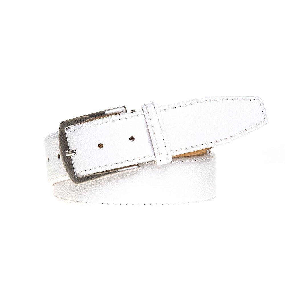 White Italian Pebble Leather Belt