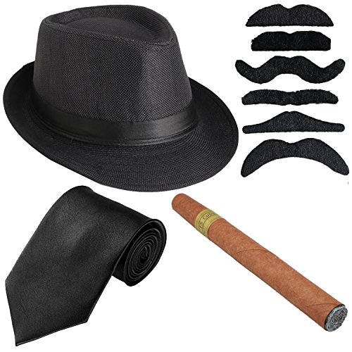 Roaring 20s Gangster Costumes (KaKaxi 1920s Mens Costume Accessory Set - Manhattan Fedora Hat, Gangster Tie,Toy Cigar & Mustache (Onesize, Black))