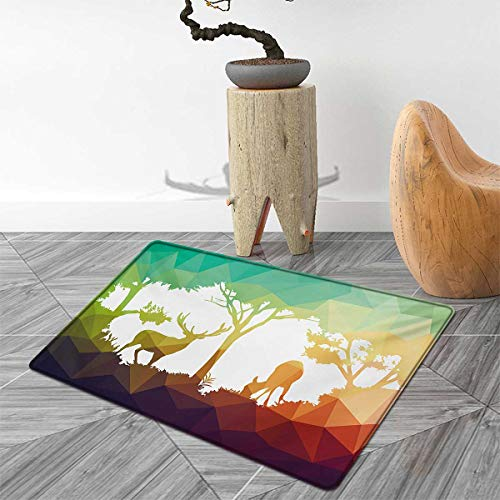 Africa Door Mats for Home Fractal Deer Family Geometric Cut Shapes Hunt Adventure Themed Desert Eco Graphic Bath Mat Bathroom Mat with Non Slip 5'x6' Multicolor