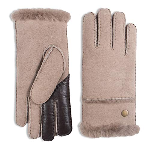 YISEVEN Women's Merino Sheepskin Shearling Leather Gloves Mittens Sherpa Fur Cuff Thick Wool Lined and Heated Warm for Winter Cold Weather Dress Driving Work Xmas Gifts, Taupe ()