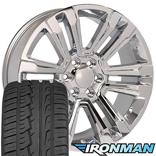 OE Wheels 22 Inch Fit Chevy Silverado Tahoe GMC Sierra Yukon Cadillac Escalade Denali Style CV44 Chrome 22x9 Rims Ironman iMove Gen2 Tires SET ()