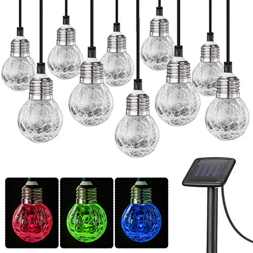 SUNWIND Solar Globe String Lights Outdoor 19ft 10LED Solar Cracked Glass Ball Color Changing Waterproof for Fairy Garden, Patio, Wedding, Party, Christmas and Holiday Decorations ()